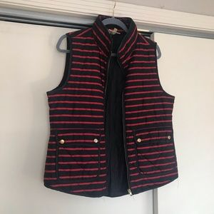 Red and White Striped Puffer Vest